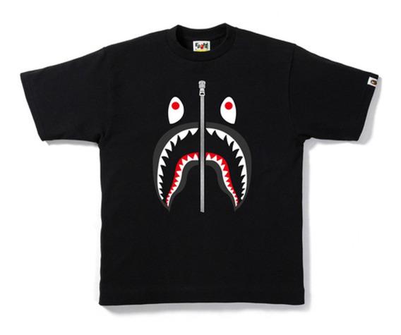 Playera Bape A Bathing Ape - Shark - Black On Black -