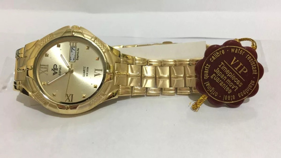 Relógio Vip Mh-228 Pulseira Dourada Novo Original + Nota