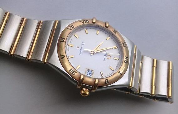 Lindo Omega Constellation Aço E Ouro 18k Unissex Safira 33mm