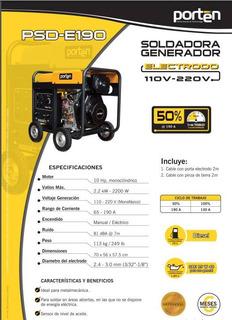 Motosoldadora Inverter A Diesel 2000w Marca Porten
