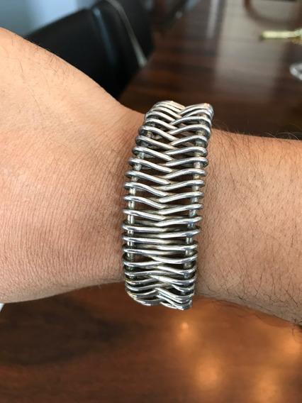 Bracelete Prata Maciça Masculina Antiga
