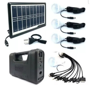Kit Panel Solar +4 Bombillos+bateria+linterna Carga Celular