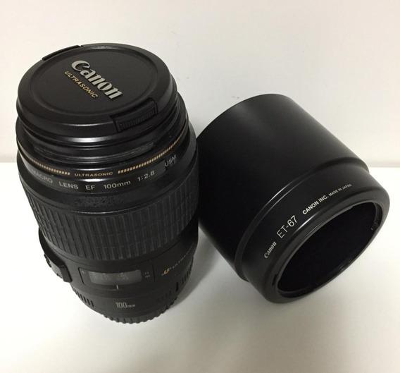 Lente Canon 100mm 2.8 Macro Usm - Usada - Super Conservada.