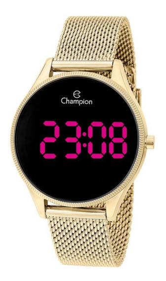 Relógio Feminino Dourado Champion Digital Led Roxo Original