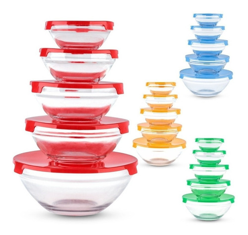 Set 5 Bowls De Vidrio C/tapa 9cm 10,5cm 13cm 14cm 17cm
