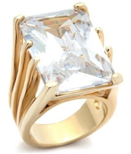 Anel Solitário Pedra Clear Branca Folheado Ouro 18k Luxo