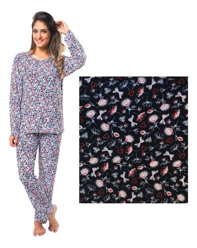 Pijama Longo Manga Longa Frio Calça Liganete Feminino Adulto