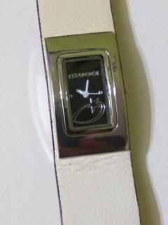 Reloj Muaa Dama Analogo Con Cuero Blanco Original De Expos.