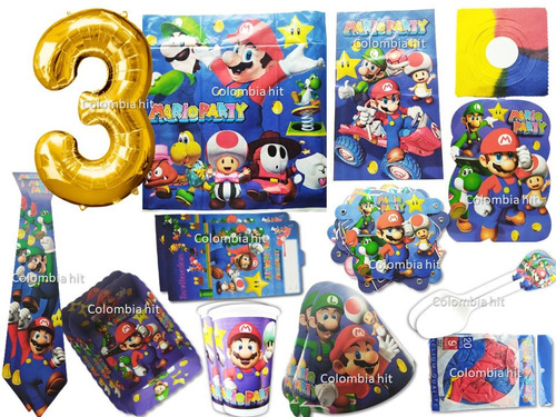 Kit Decoracion Fiesta Super Mario Bros 24 Invitados
