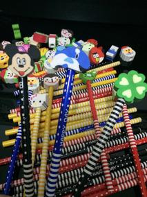 02 Caixas C/ 45 Lápis Cada Estampados C/ Borracha Divertida