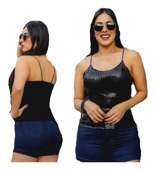 T-shirt Blusinha Regata Paetê Com Bojo E Alça Dupla