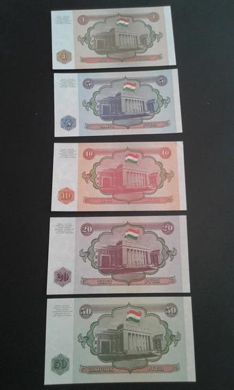 Lote 5 Cédulas Tajiquistão 1, 5, 10, 20, 50 Rubles Fe