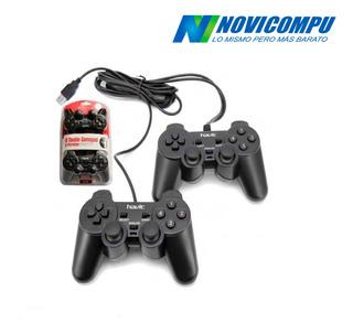 Gamepad Doble Control Joystick Usb Con Vibración 10 Botones