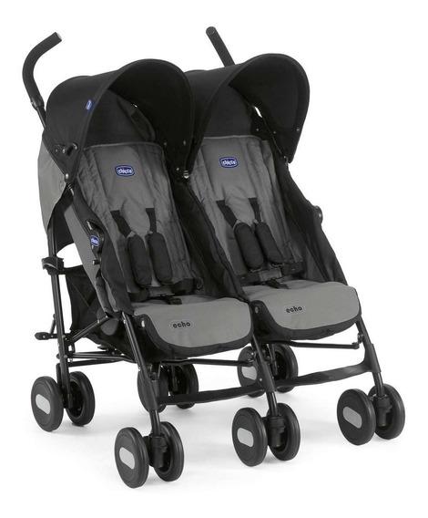 Carrinho De Bebê Gêmeos Echo Twin Cinza Chicco