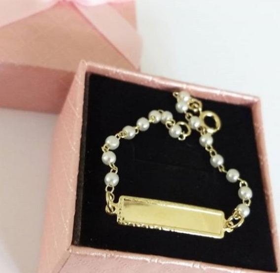 Pulseira Chapinha Borda Diamantada Com Pérola Banho De Ouro
