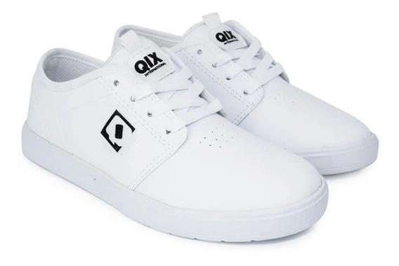 Tênis Qix Skate Combat Iii Branco Couro Sintético Original
