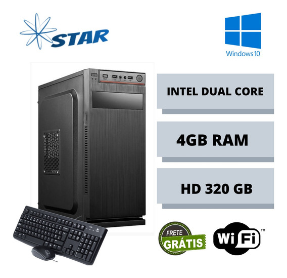 Cpu Dual Core 4gb Ram Hd 320 Win 10 Teclado E Mouse Frete