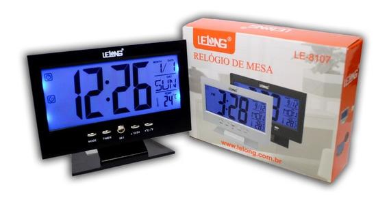 Relogio De Mesa Digital Termometro Calendário Despertador