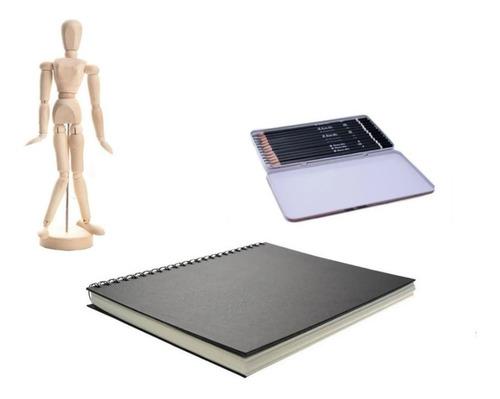 Imagen 1 de 8 de Combo Cuaderno Dibujo + Juego De Lápices + Maniquí 30cm