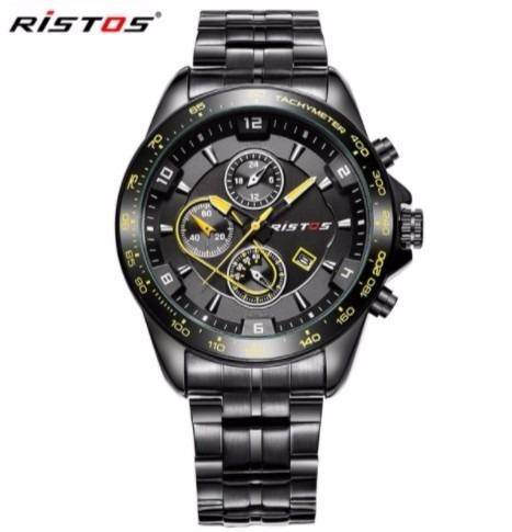 Relógio De Pulso Ristos No:93019g Preto E Amarelo