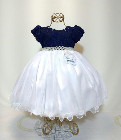 Vestido Branco E Azul Marinho Bebê Festa Casamento P M G