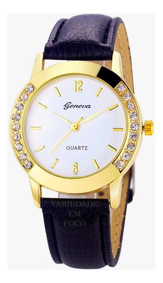 Relógio Barato Feminino Geneva Dourado Strass