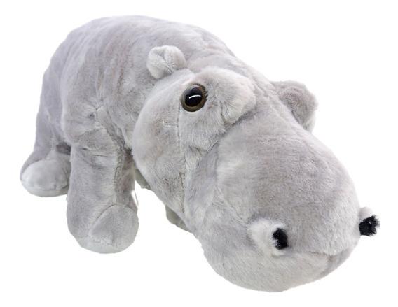 Pelúcia Hipopótamo Safári Cinza Com 33 Cm Comprimento