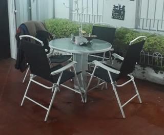 Juego De Jardin Mesa Redonda Y 4 Sillas Plegables