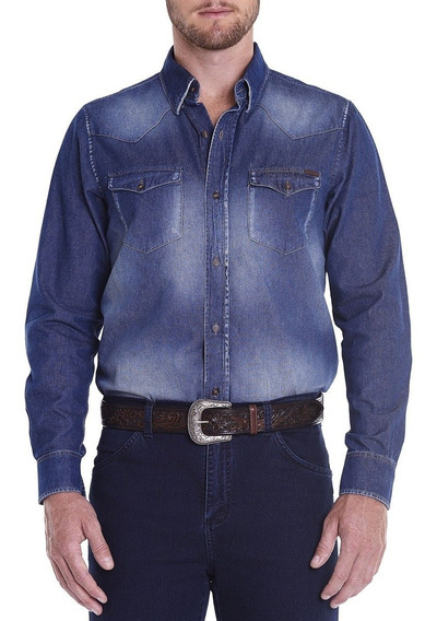 Camisa Masculina Jeans Regular Wester Vintage Tassa Manga Longa Casual Country