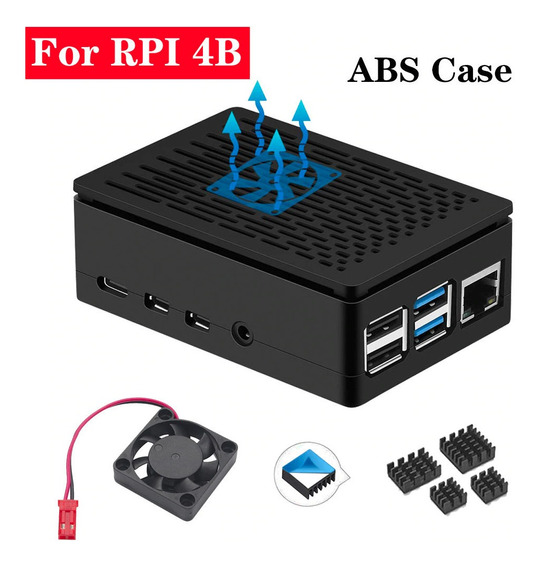 Case Raspberry Pi4 C/ Cooler + Dissipadores - Pi 4