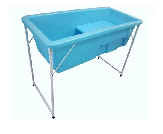 Banheira Petshop Banho E Tosa Pequena Azul Com Degrau