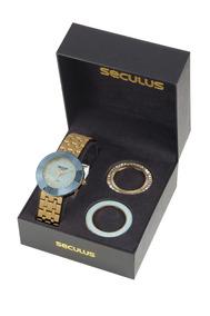 Kit Relógio Feminino Seculus 20598lpsvds2 Promo Dia Dos Pais