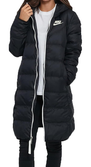 Campera Reversible Nike Parka Pluma Negra Inflable Mujer