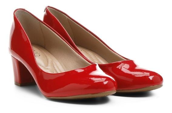 Sapato Feminino Scarpin Beira Rio Conforto 4777309 Verniz Vermelho