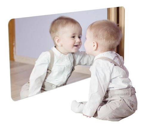 Espelho Acrílico Quarto Do Bebê Neném Montessoriano 80x40cm