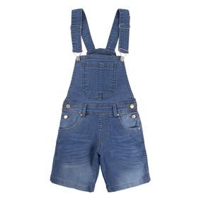 Jardineira Jeans Com Lavagem Used E Bigode 3d 919366