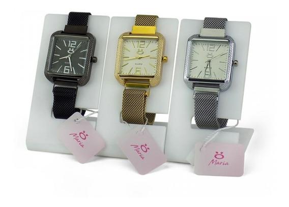 Kit Relógios Feminino Original Dourado + Pilhas Reservas+ Nf