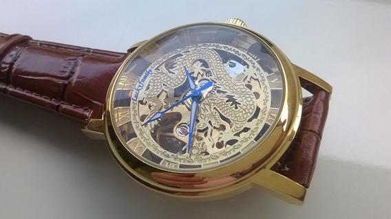 Relógio Unissex Mecânico Luckfamily Esqueleto Dourado
