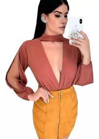 Body Blusa Gola Mangas Abertas Feminina Outono 2019