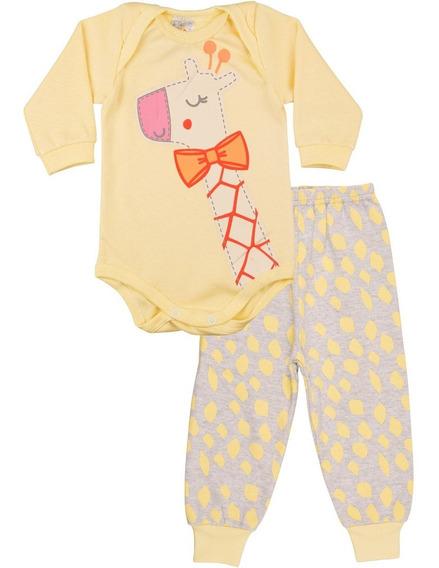 Roupa De Bebê Menina Conjunto Body E Calça Longo Inverno