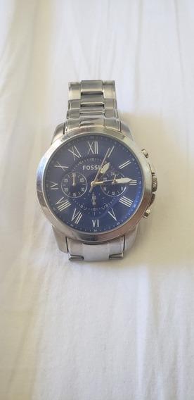 Relógio Fóssil Prata Com Fundo Azul