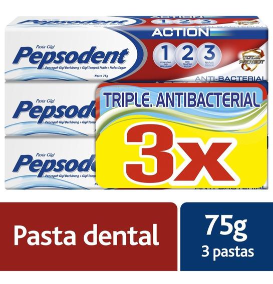 12 Unidades Crema Dental Pepsodent, Action Antibacterial 75g