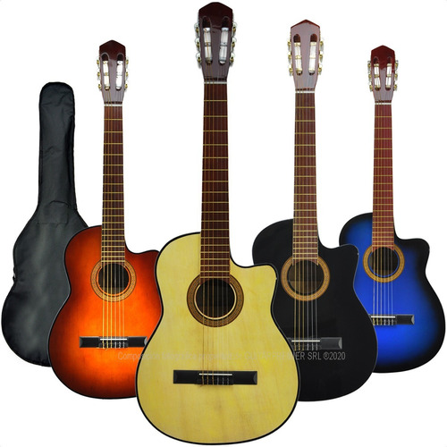 Guitarra Electrocriolla C/ Corte Acustica Funda Pua Colores