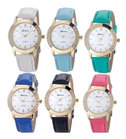 Relógio Feminino Luxo Geneva Barato Pulseira De Couro