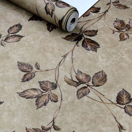 Imagem 1 de 8 de Papel De Parede Importado Textura Damask Marrom Alto Relevo
