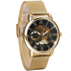 Relógio Winner Luxo Skeleton Mecanico Goldem-black 468x