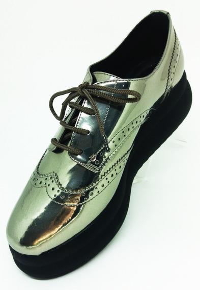 Sapato Oxford Feminino Prata Barato Lialine Na Li & Ca 8407s