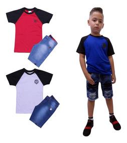 Conjunto Infantil Camiseta E Bermuda Jeans Masculino Kit C 3