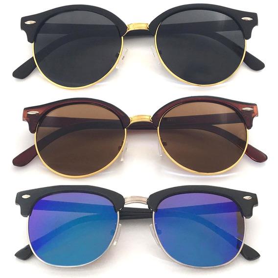 Óculos De Sol Oval Com Proteção Uv400 Masculino Feminino