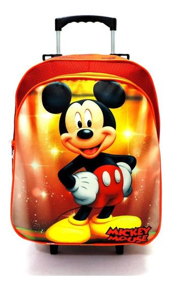 Mochila Escolar Infantil Mickey Mouse Vermelho Rodinhas Tam G F5